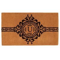 """Home & More Garbo Monogrammed """"U"""" 36-Inch x 72-Inch Thick Door Mat in Natural/Black"""