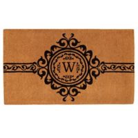 "Home & More Garbo Monogrammed ""W"" 36-Inch x 72-Inch Thick Door Mat in Natural/Black"