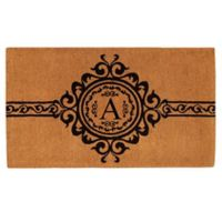 """Home & More Garbo Monogrammed """"A"""" 36-Inch x 72-Inch Thick Door Mat in Natural/Black"""