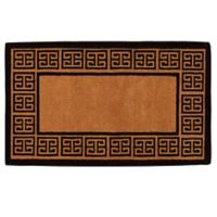 Home & More The Grecian Monogrammed 18-Inch x 30-Inch Door Mat in Natural/Black