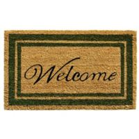 Home & More 18-Inch x 30-Inch Sage Green Border Welcome Door Mat in Natural