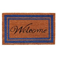 Home & More 18-Inch x 30-Inch Blue Border Welcome Door Mat in Natural