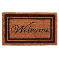 Home & More 18-Inch x 30-Inch Brown Border Welcome Door Mat in Natural