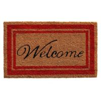 Home & More 18-Inch x 30-Inch Red Border Welcome Door Mat in Natural