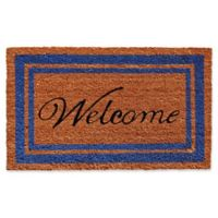 Home & More 24-Inch x 36-Inch Blue Border Welcome Door Mat in Natural