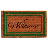 Home & More 24-Inch x 36-Inch Green Border Welcome Door Mat in Natural