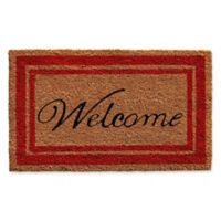 Home & More 24-Inch x 36-Inch Red Border Welcome Door Mat in Natural