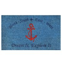 Home & More 17-Inch x 29-Inch Anchor Door Mat in Blue Red