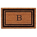 "Home & More Border Monogrammed ""B"" 18-Inch x 30-Inch Door Mat in Black"