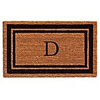 "Home & More Border Monogrammed ""D"" 18-Inch x 30-Inch Door Mat in Black"