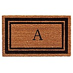 "Home & More Border Monogrammed ""A"" 18-Inch x 30-Inch Door Mat in Black"