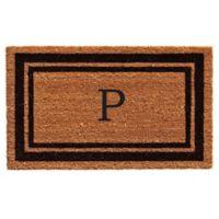 """Home & More """"P"""" Monogram 24-Inch x 36-Inch Door Mat in Black"""