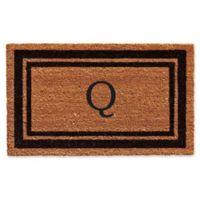 """Home & More """"Q"""" Monogram 24-Inch x 36-Inch Door Mat in Black"""