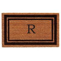 """Home & More """"R"""" Monogram 24-Inch x 36-Inch Door Mat in Black"""