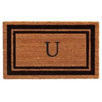 """Home & More """"U"""" Monogram 24-Inch x 36-Inch Door Mat in Black"""
