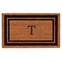 """Home & More """"T"""" Monogram 24-Inch x 36-Inch Door Mat in Black"""
