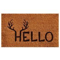 Home & More 17-Inch x 29-Inch Antler Hello Door Mat in Natural/Black