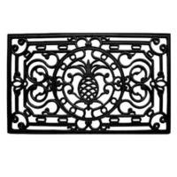 Home & More 30-Inch x 48-Inch Pineapple Heritage Rubber Door Mat in Black