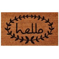 Home & More 17-Inch x 19-Inch Calico Hello Door Mat in Natural/Black