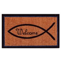 Home & More 17-Inch x 29-Inch Christian Welcome Door Mat in Natural/Black