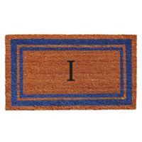 "Home & More Border Monogrammed ""I"" 18-Inch x 30-Inch Door Mat in Blue"