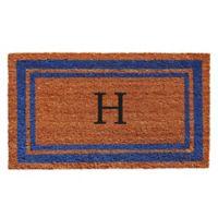 "Home & More Border Monogrammed ""H"" 18-Inch x 30-Inch Door Mat in Blue"