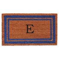 "Home & More Border Monogrammed ""E"" 18-Inch x 30-Inch Door Mat in Blue"
