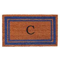 """Home & More Border Monogrammed """"C"""" 18-Inch x 30-Inch Door Mat in Blue"""