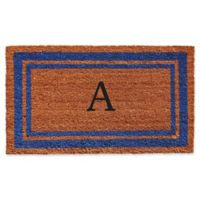 """Home & More Border Monogrammed """"A"""" 18-Inch x 30-Inch Door Mat in Blue"""