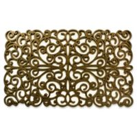 Home & More Scroll 18-Inch x 30-Inch Rubber Door Mat in Gold