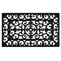 Home & More Fleur de Lis Rubber 18-Inch x 30-Inch Door Mat in Black