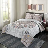 Marble Hill Regal Rosette King Reversible Comforter Set in Grey