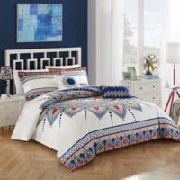 Chic Home Popo 5-Piece Reversible Queen Comforter Set in White/Navy