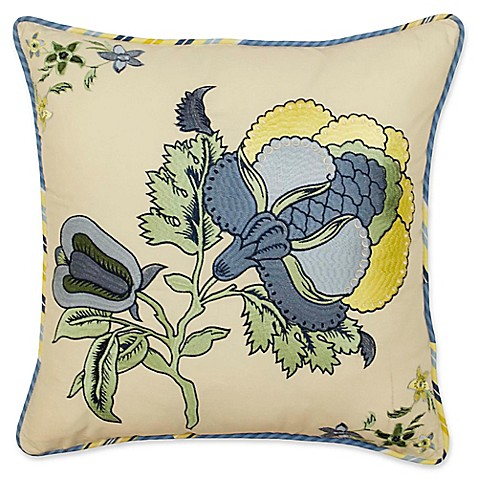 Porcelain Blue Decorative Pillows : Waverly Imperial Dress Square Throw Pillow in Porcelain Blue - Bed Bath & Beyond