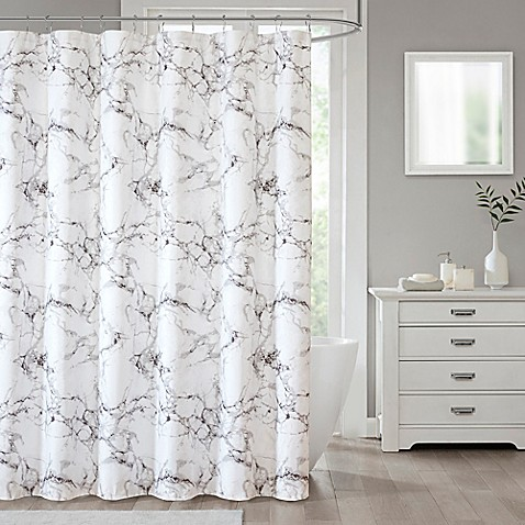 Shower Curtains At Bed Bath And Beyond marble shower curtain collection | bed bath & beyond