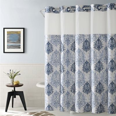 HooklessR Ikat 54 Inch X 80 Shower Curtain In Estate Blue