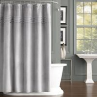 J. Queen New York Estella Velvet Shower Curtain in Silver
