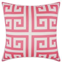 Mina Victory Greek Key Geometric Square Outdoor Pillow in Hot Pink