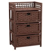 Household Essentials® 3-Drawer Wicker Storage Chest in Brown