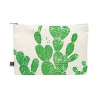 Deny Designs Bianca Green Linocut Cacti 1 Family Medium Pouch in Green