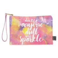 "Deny Designs Hello Sayang ""Don't Let Anyone Dull Your Sparkle"" Small Pouch in Pink"