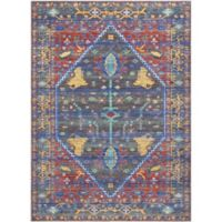 """Nourison Cambria 5'3"""" x 7'3"""" Machine Woven Area Rug in Navy/Red"""