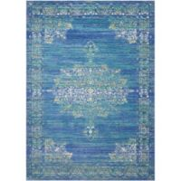 Nourison Cambria 2' x3' Machine Woven Kitchen Mat in Teal