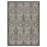 "Nourison Country Side 5'3"" x 7'3"" Machine Woven Area Rug in Ivory/Charcoal"