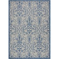 """Nourison Country Side 9'6"""" x 13' Machine Woven Area Rug in Ivory Blue"""