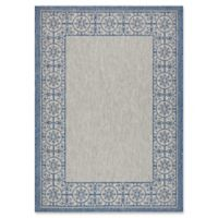 "Nourison Country Side 5'3"" x 7'3"" Machine Woven Area Rug in Ivory Blue"