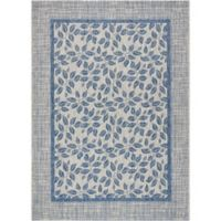"Nourison Country Side 9'6"" x 13' Machine Woven Area Rug in Ivory Blue"