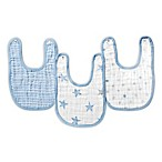 aden® by aden + anais® Muslin Snap Bibs in Blue/White