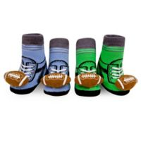 Waddle Size 0-12M 2-Pack Football Rattle Baby Socks in Blue/Green