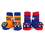 Waddle Size 0-12M 2-Pack Train Rattle Baby Socks in Navy/Orange